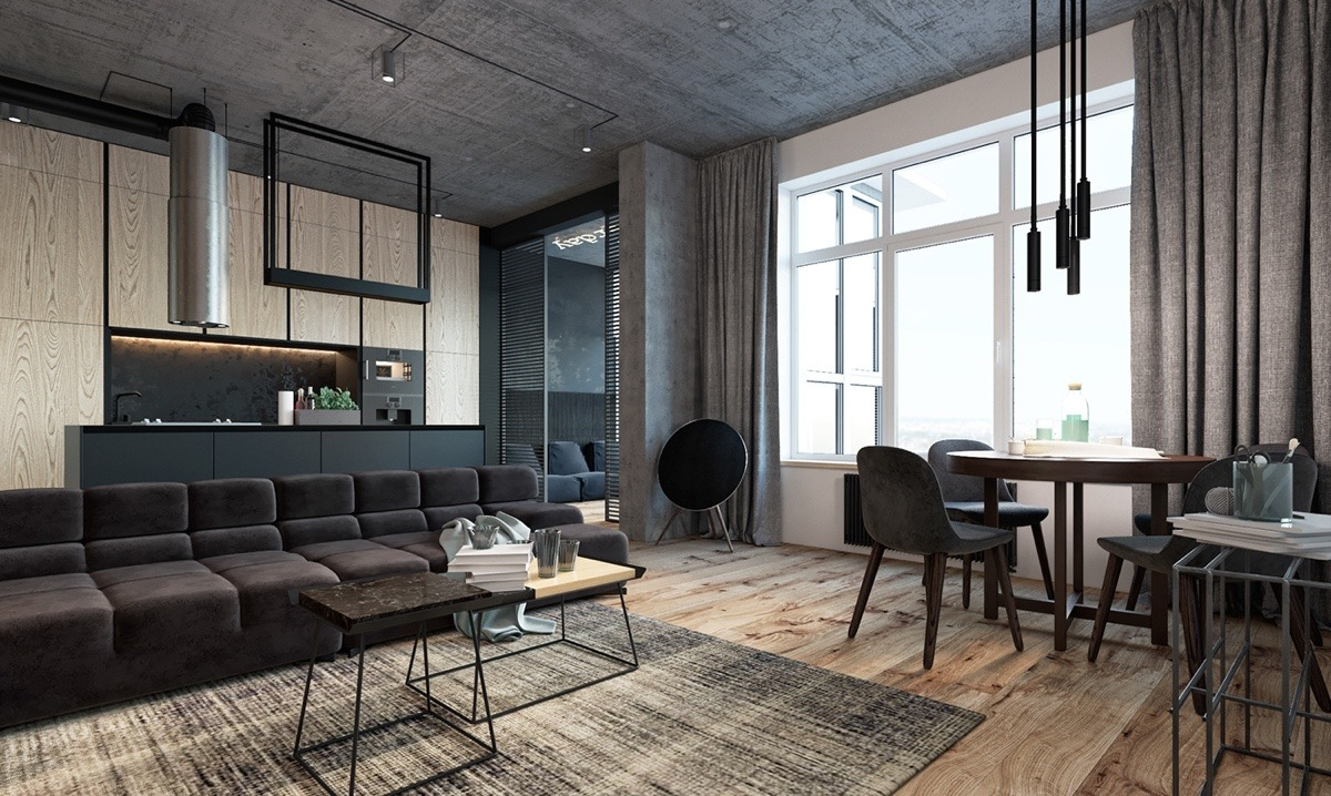 Bachelor Pad Living Room Padded Grey Couches Rough Wooden Floors Low Hanging Lights - Find greyspiration in 3 sophisticated modern grey spaces