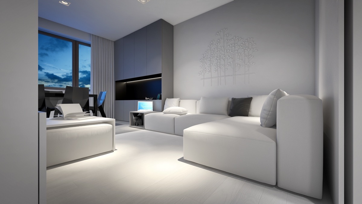 3 light white and minimalist homes inspiring clarity of mind for Grey black and white living room