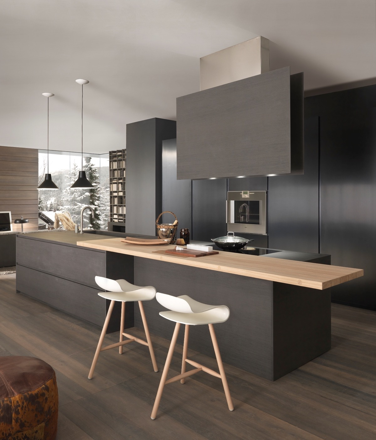 Black Kitchen Featuring Blocks Two Different Types Of Wood - 36 stunning black kitchens that tempt you to go dark for your next remodel