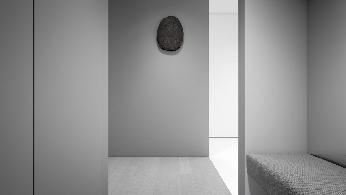 Black tree stump rings feature wall piece grey corridor and entrance funky wall art