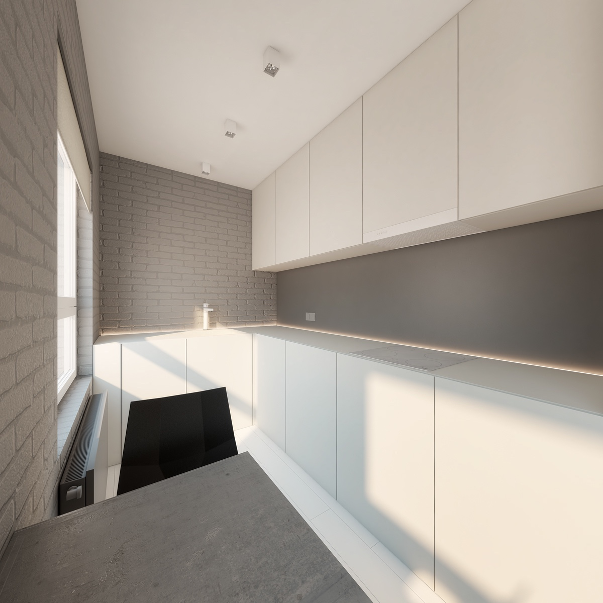 Clean, light and white kitchen grey inlet walling good use of corridor space