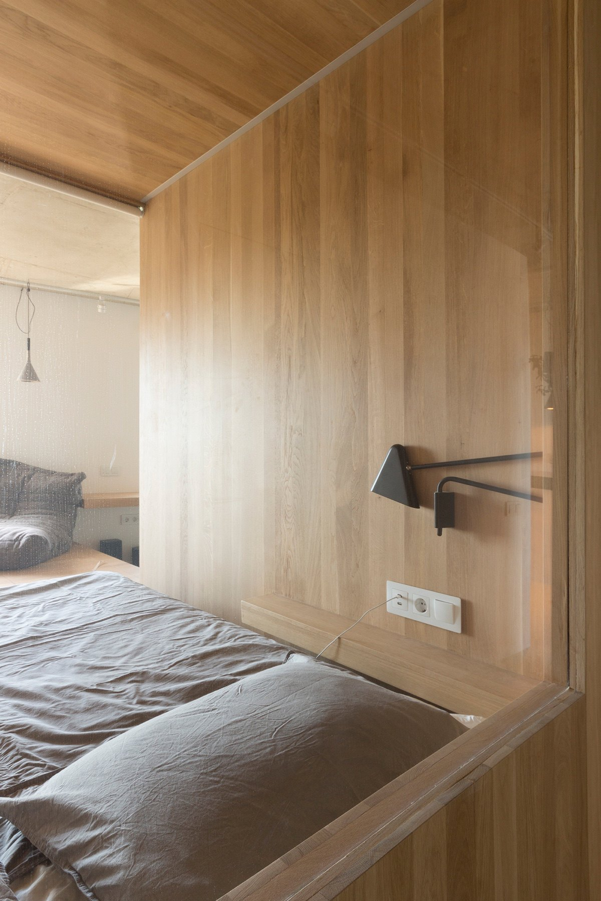 Close Up Minimalist Bedroom Apartment Under Sqm Grey Bedside Lamp - Super small studio apartment under 50 square meters includes floor plan