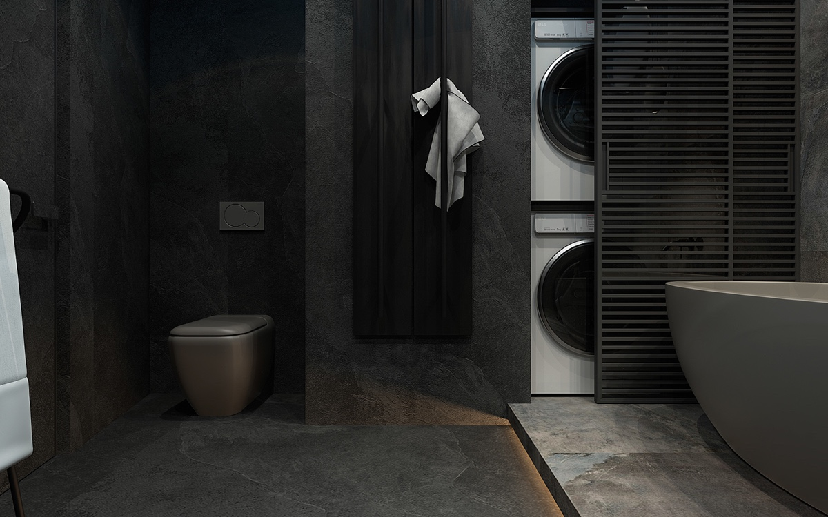 Inspiring examples of use of grey in luxury interior design for Earthy bathroom designs