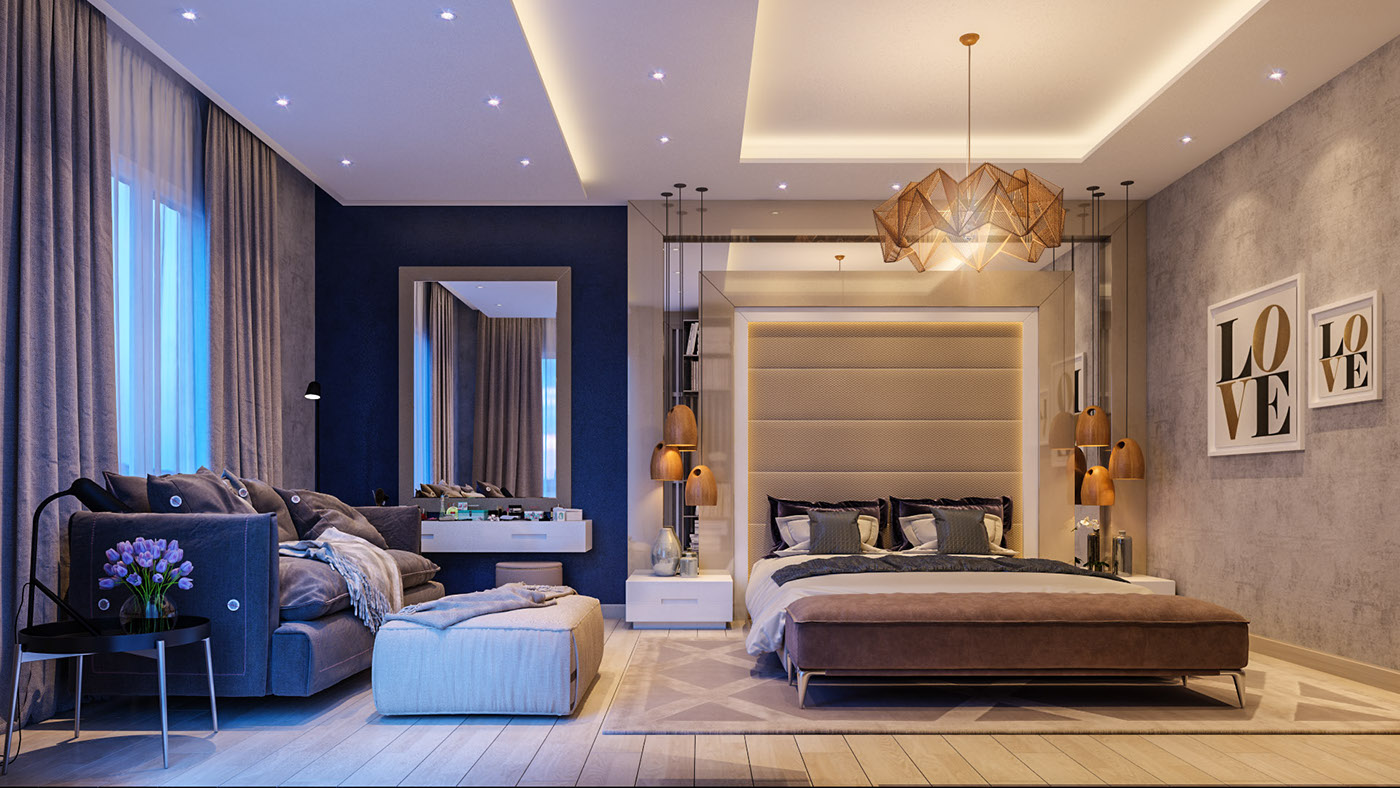 bold bedroom Impove Your Luxirous Sleeptime With Bold Bedroom Spaces Glamorous LOVE bedroom brown white and beige amber tones midnight blue side wall