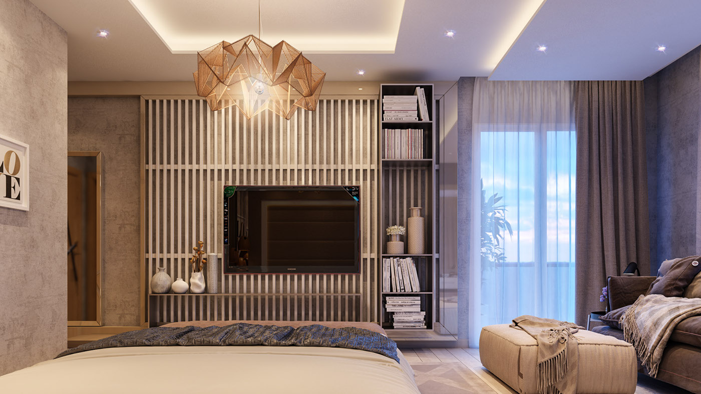 bold bedroom bold bedroom Impove Your Luxirous Sleeptime With Bold Bedroom Spaces Glamorous bedroom origami amber chandelier black and silver striped wallpaper elegant shelving