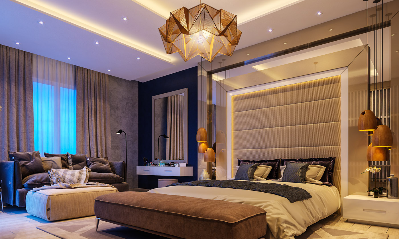 bold bedroom bold bedroom Impove Your Luxirous Sleeptime With Bold Bedroom Spaces Glamorous bedroom panelled grey headboard origami amber feature chandelier
