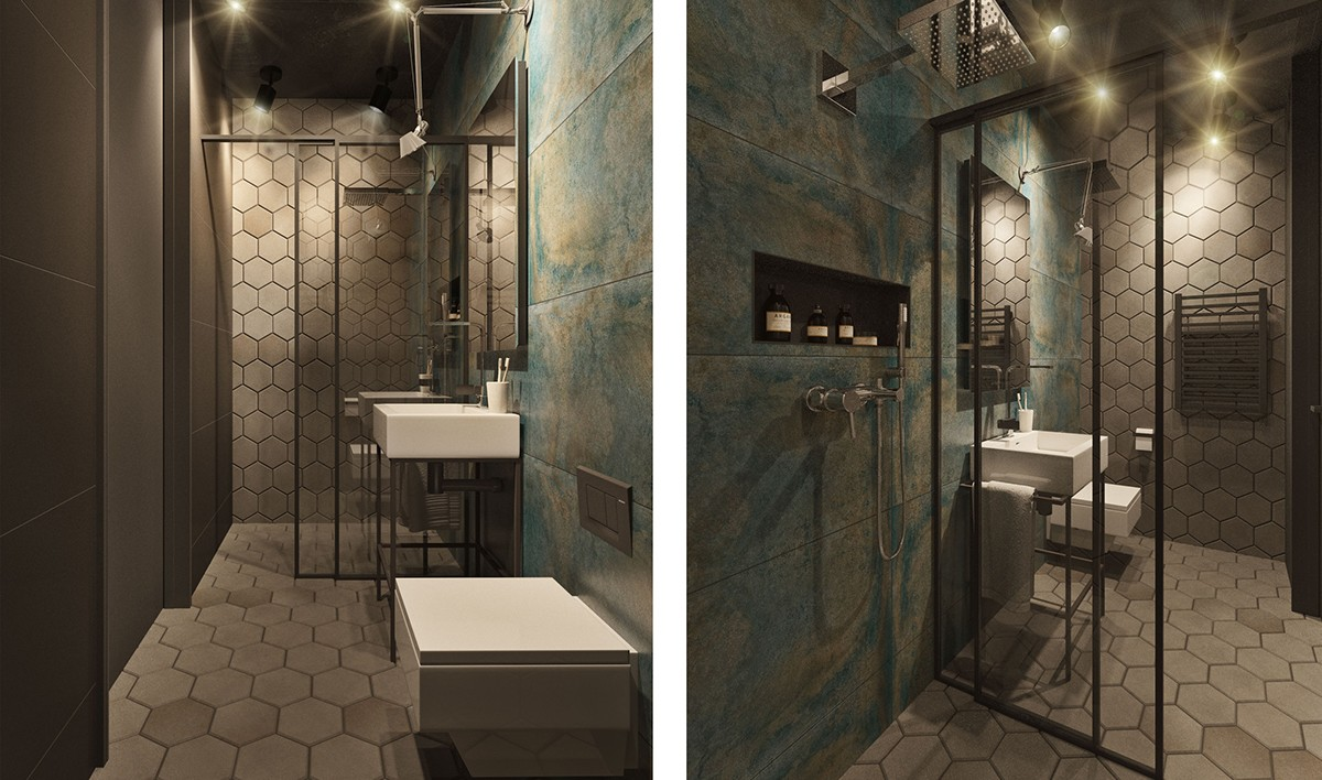 Green Grey Marble Tiles Bathroom Grey Honeycomb Tiling White Porcelain Fixtures - Find greyspiration in 3 sophisticated modern grey spaces
