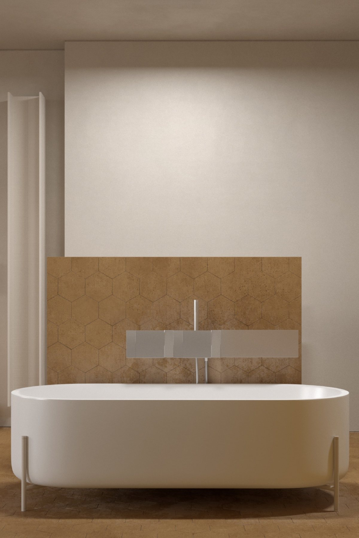 The bathroom is a honeycomb hive, with mustard hexagons peppering its space. Letting large white porcelain take centre stage, the bath wows as little grey spokes hold it up. Cylindrical washbasins add comfort in shape, while eggshell wall fixtures hold amenities with sophistication. Simple round ceiling lights work with mirrors to add light, while honeycomb covers the space. A wooden trunk in the shower offers a simple place to rest.