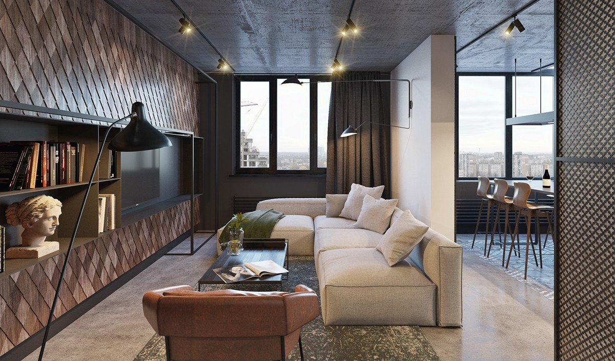 Industrial TV And Library Beige Block Sofas Stone Bust Wooden Tiled Feature Wall - Find greyspiration in 3 sophisticated modern grey spaces