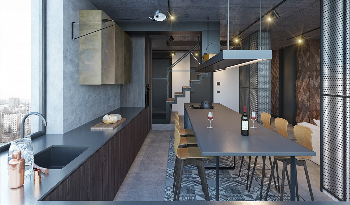 Industrial Dining Room And Kitchen Long Grey Benching Stencil Block Staircase Grey - Find greyspiration in 3 sophisticated modern grey spaces