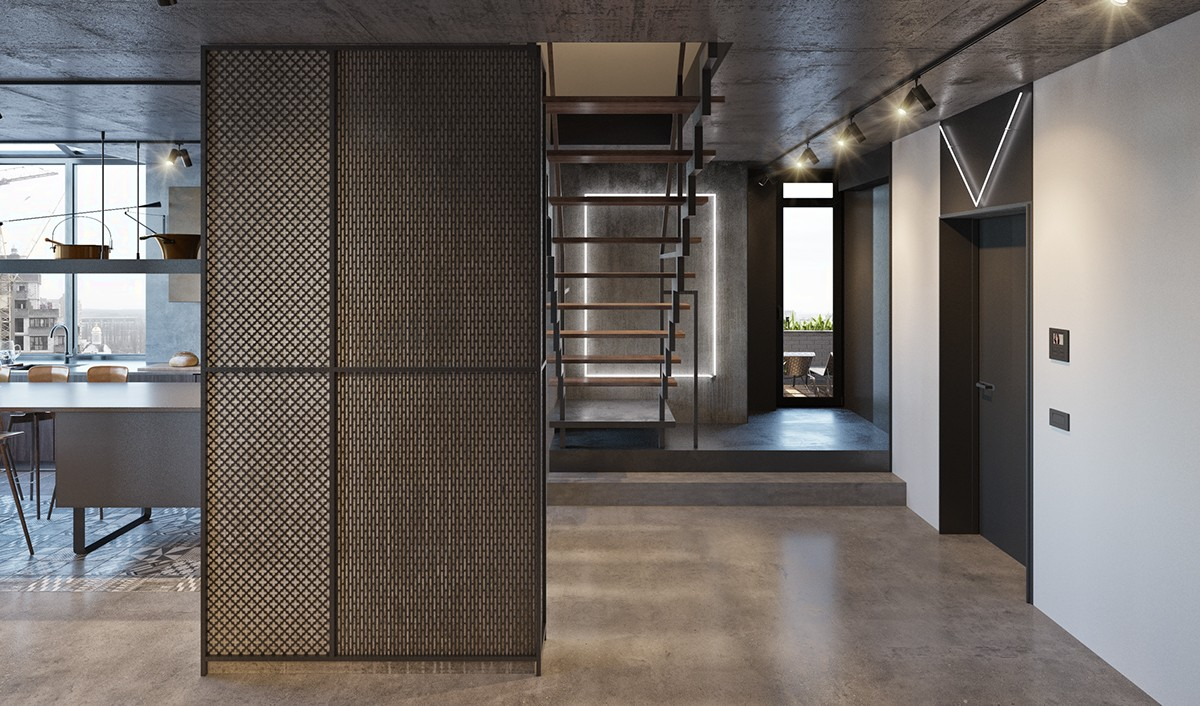 Industrial Entrance Grey Grated Wall Panel Iron And Wooden Staircase Wooden Flooring - Find greyspiration in 3 sophisticated modern grey spaces