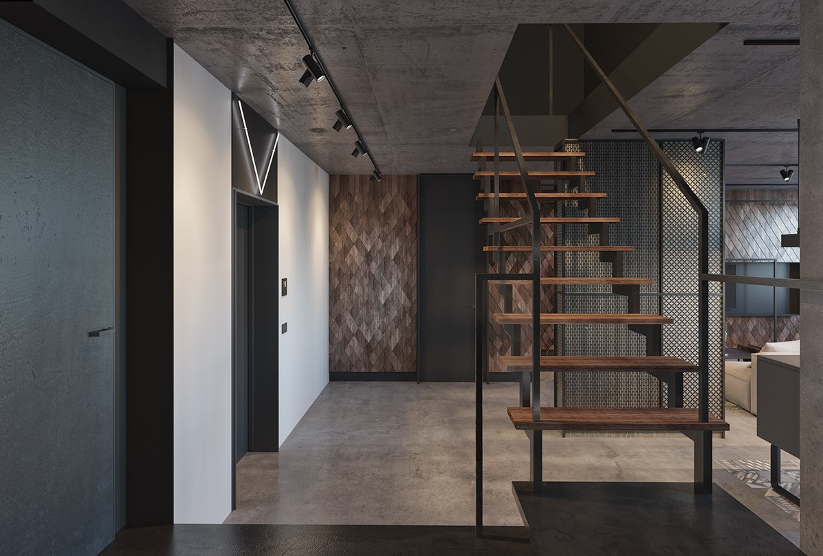 Industrial Entrance Iron And Wooden Staircase Grey Panelled Doors Wood Tiled Feature Wall - Find greyspiration in 3 sophisticated modern grey spaces
