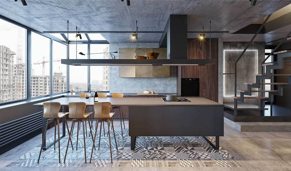 Industrial Kitchen And Dining Table Wooden Slat Floor Metal Grey L Shaped Window Framing - Find greyspiration in 3 sophisticated modern grey spaces