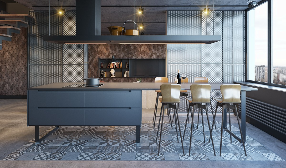 Industrial Kitchen Wooden Tiling Shared Dining Room And Kitchen Table With Stove Golden High Stools - Find greyspiration in 3 sophisticated modern grey spaces