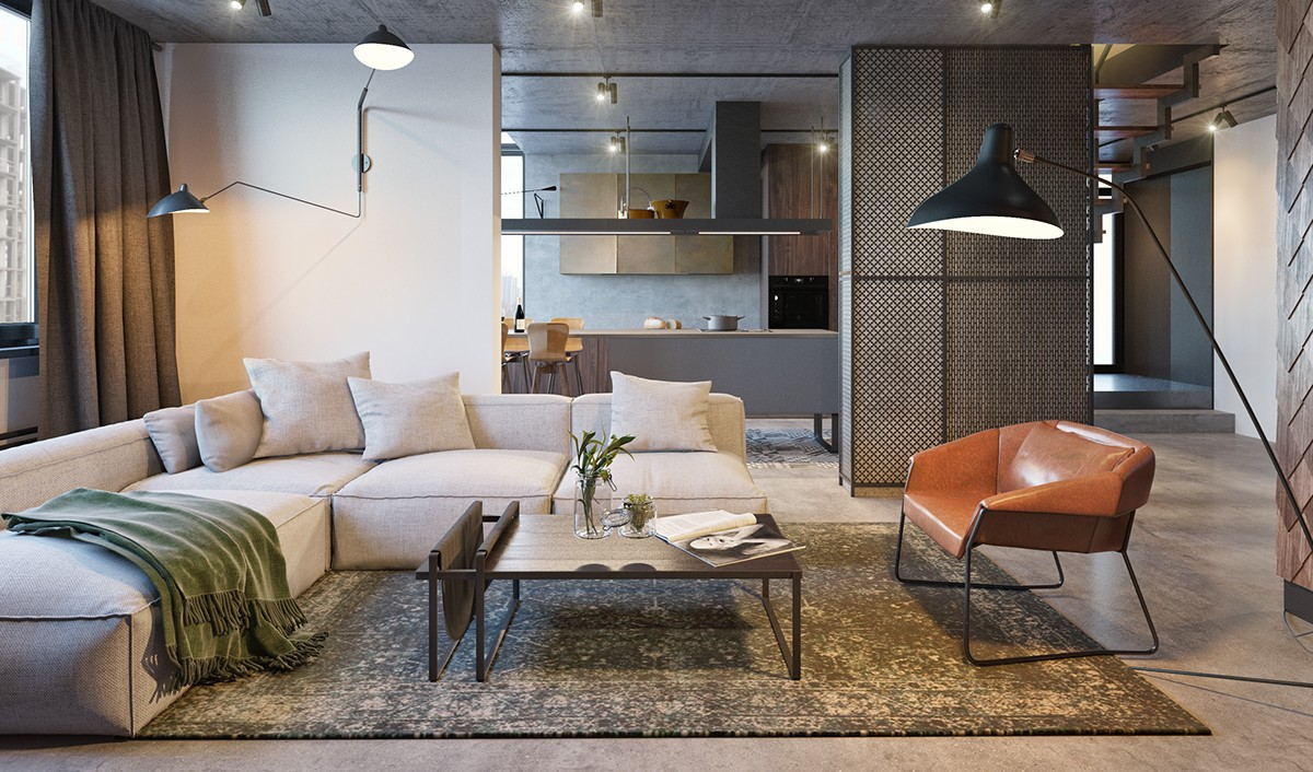 Industrial Living Room Steel Grated Wall Panel Mid Brown Leather Chair Iron Stencilling Features - Find greyspiration in 3 sophisticated modern grey spaces