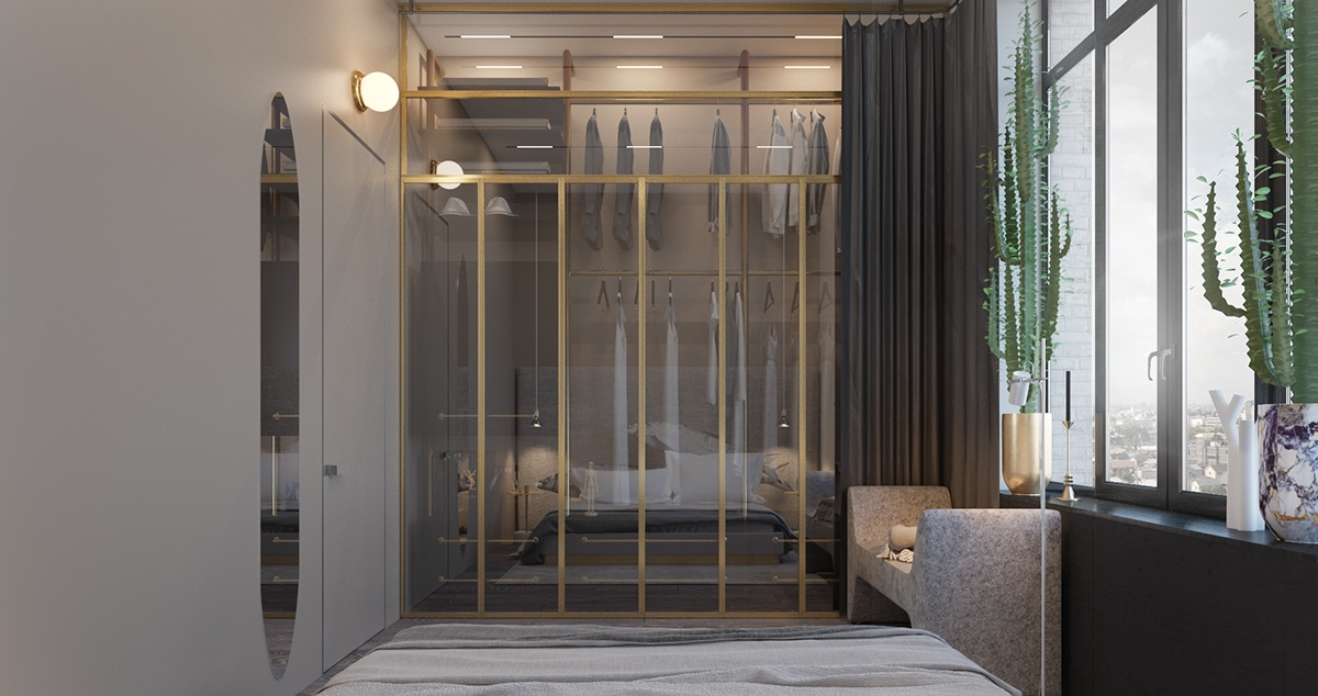 Jewellery Box Bedroom Gold Stencilling Glass Windows Ceiling Height Cacti - Find greyspiration in 3 sophisticated modern grey spaces
