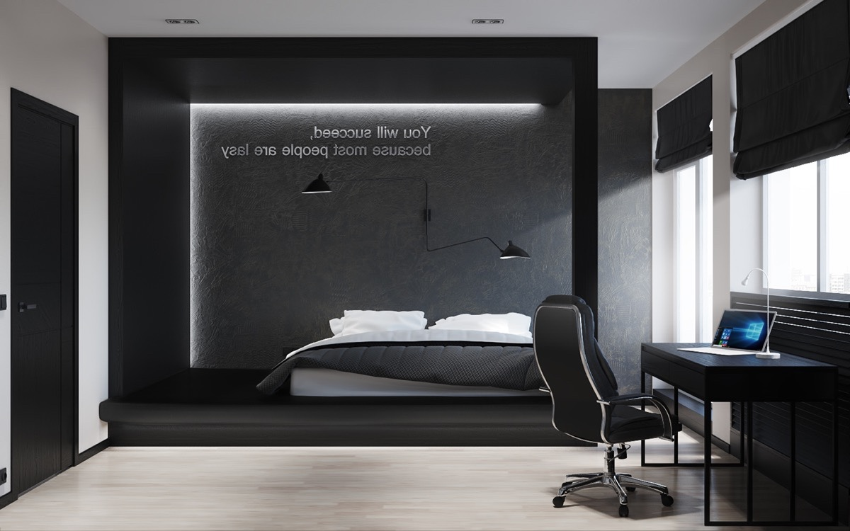 master bedroom Black  White Stunning Master Bedroom Designs LED lit pod black Ideas