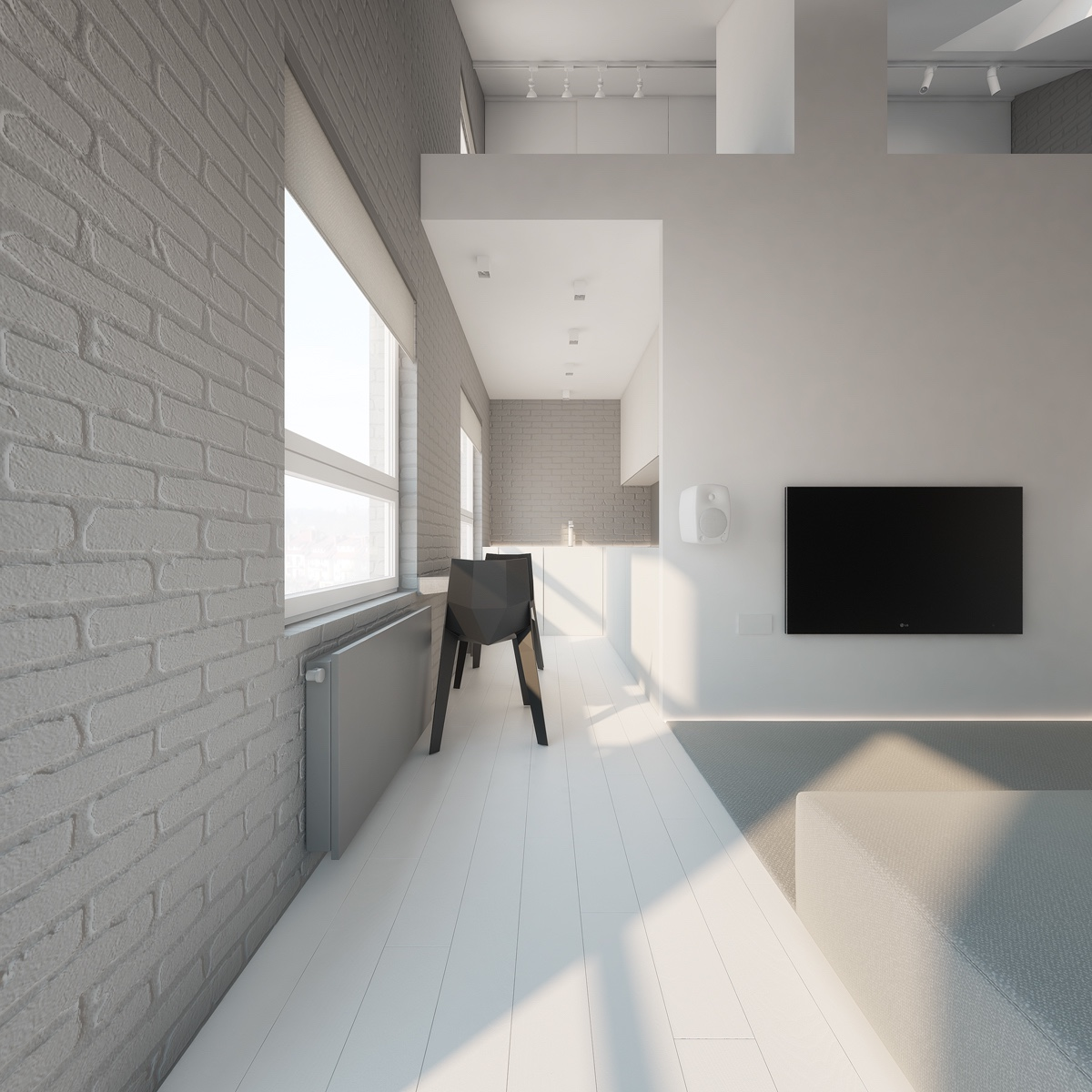 Long white corridor intersection grey brick walling two grey chairs