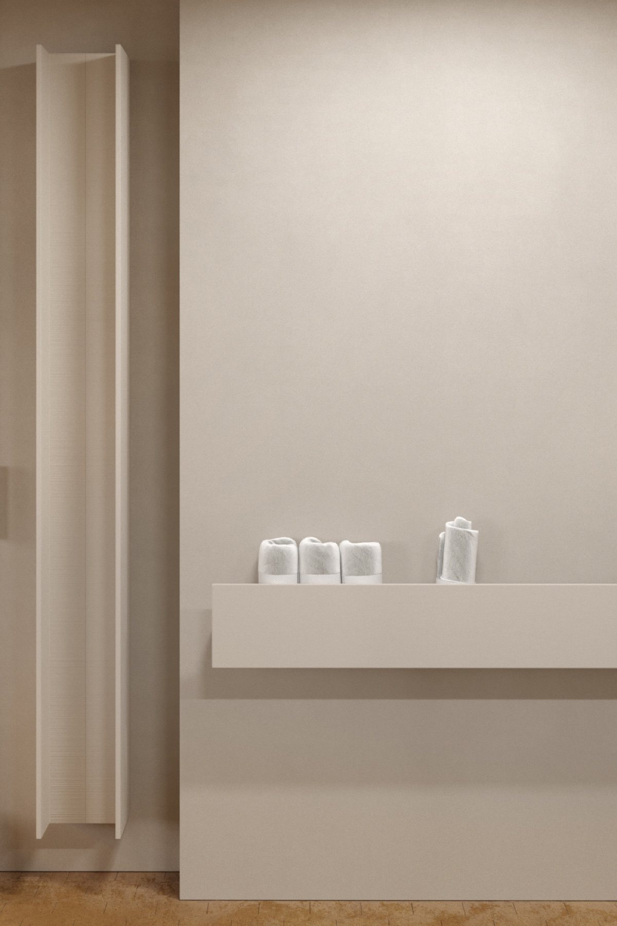 Minimal bathroom white enamel shelving white rolled hand towels