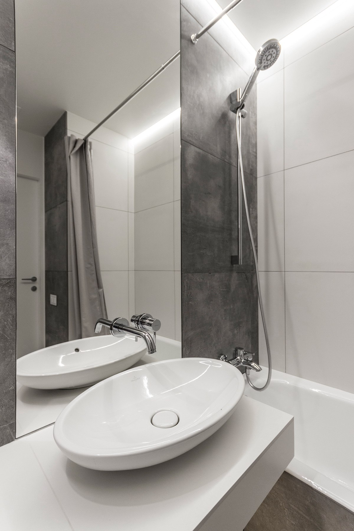 Minimalist Bathroom Grey Slate Tiles Large Format Porcelain Standing Hand Basin Chrome Shower Head - Super small studio apartment under 50 square meters includes floor plan
