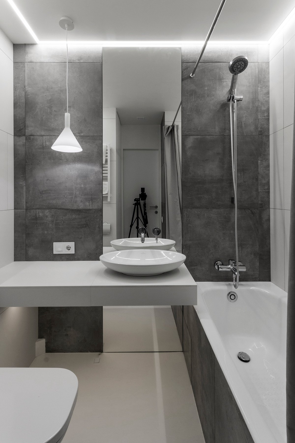 Minimalist Bathroom White And Grey Slate Tile Large Format Walls Porcelain Bowl Handbasin - Super small studio apartment under 50 square meters includes floor plan