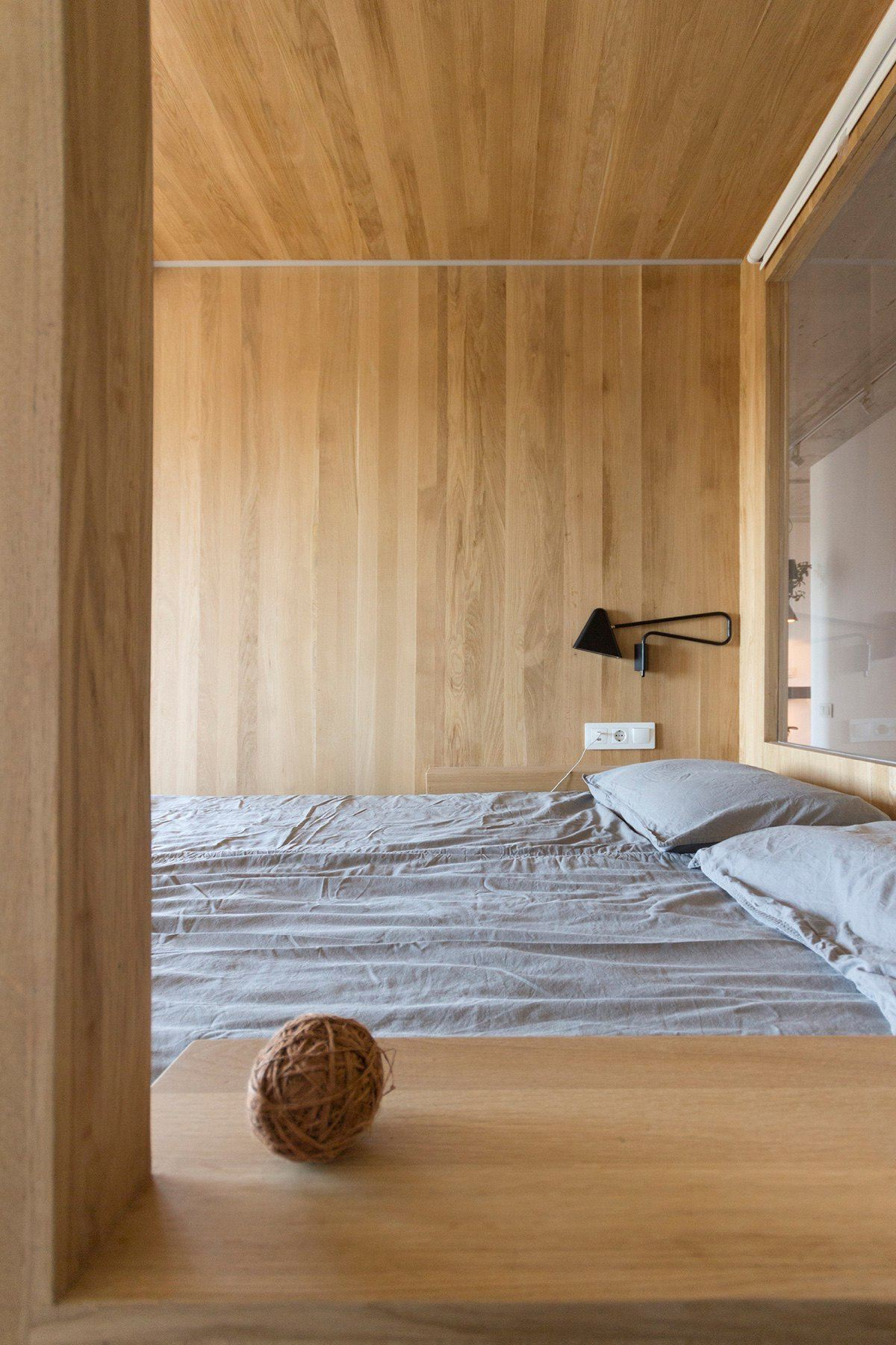 Minimalist Bedroom Grey Bedding Wall Facing Window Ball Of Yarn - Super small studio apartment under 50 square meters includes floor plan