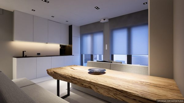 Towards The Kitchen, Smaller Features Stand Out U2013 Small Black Lego Lights  On The Ceiling; Block Shaped Taps; Sheer Roman Blinds. The Table Legs  Reflect The ...