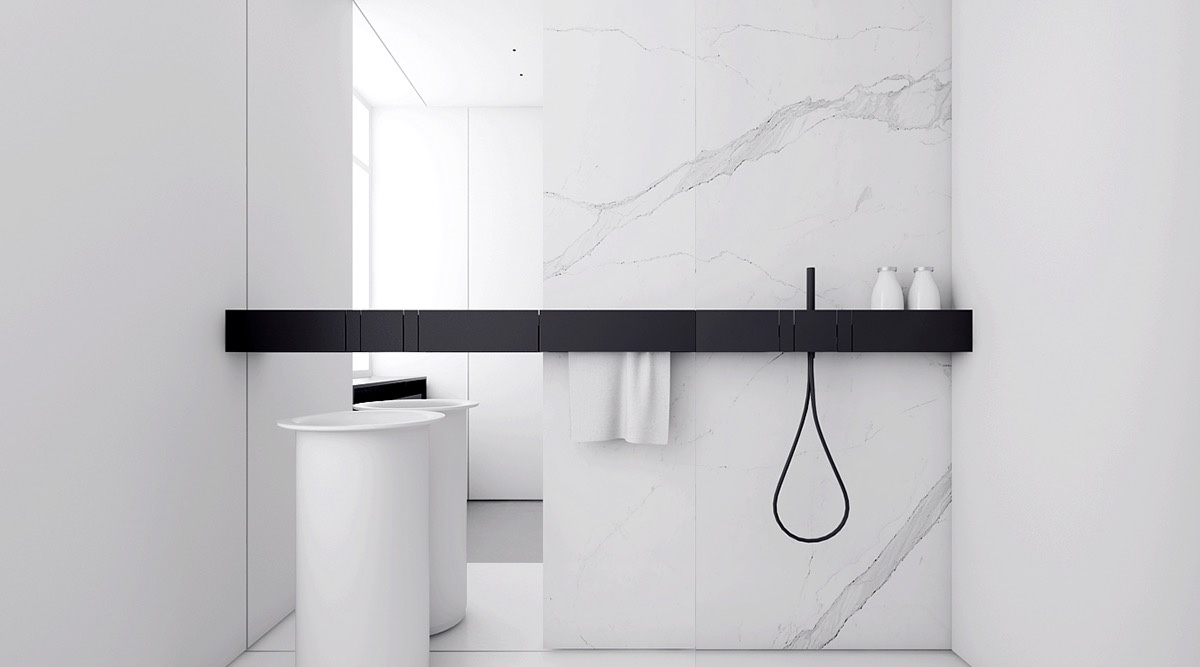 Monochromatic Bathroom Black Strip Wooden Bench White Porcelain Accessories - 4 monochrome minimalist spaces creating black and white magic