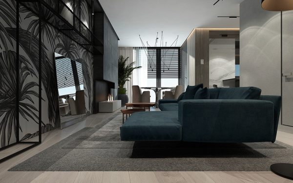Inspiring Examples Of Use Of Grey In Luxury Interior  : Oceanic living room turquoise feature couch leaning mirror 600x375 from ikeeki.com size 600 x 375 jpeg 44kB