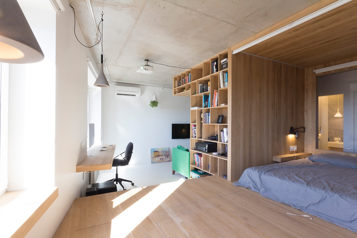 Super small studio apartment under 50 square meters for Studio apartment office