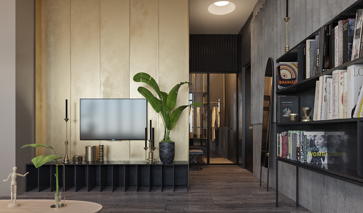 Rainforest TV Room Gold Plated Wall Black Box Cabinetry Potted Palm - Find greyspiration in 3 sophisticated modern grey spaces