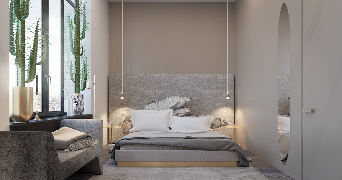 Rainforest Bedroom Grey Headboard With Sea Lions Grey Mat Stone Chaise Longue - Find greyspiration in 3 sophisticated modern grey spaces