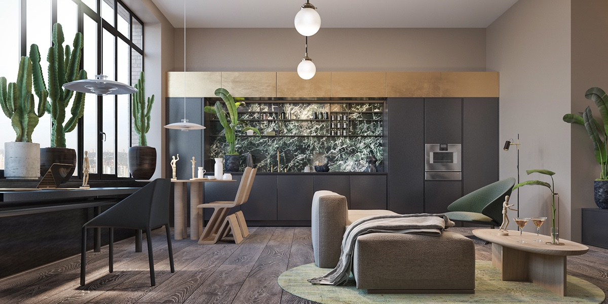 Rainforest Kitchen Marble Inlet Panelling Potted Cacti Beige Couches - Find greyspiration in 3 sophisticated modern grey spaces