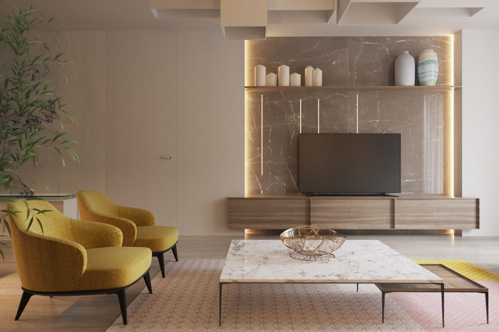 Two similar interiors for couples with and without kids for Mustard living room ideas