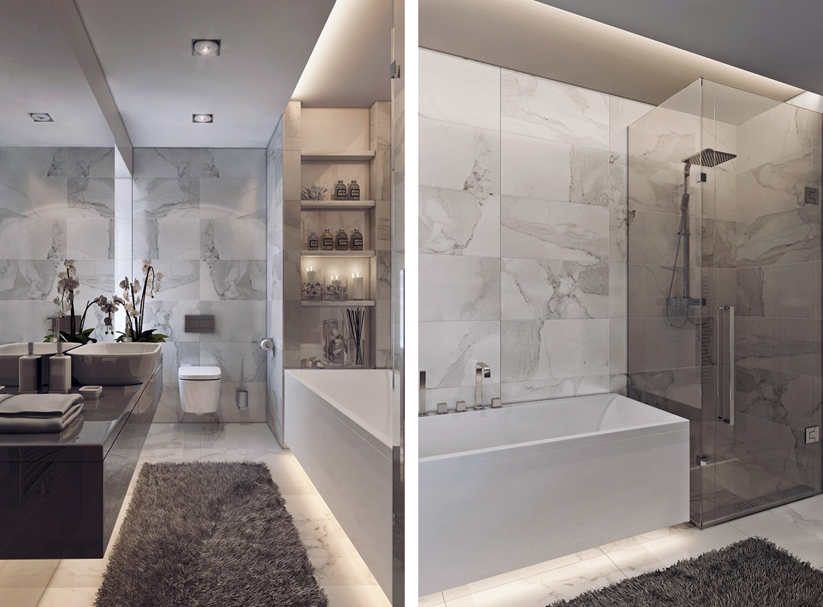 Inspiring examples of use of grey in luxury interior design for Bathroom design examples