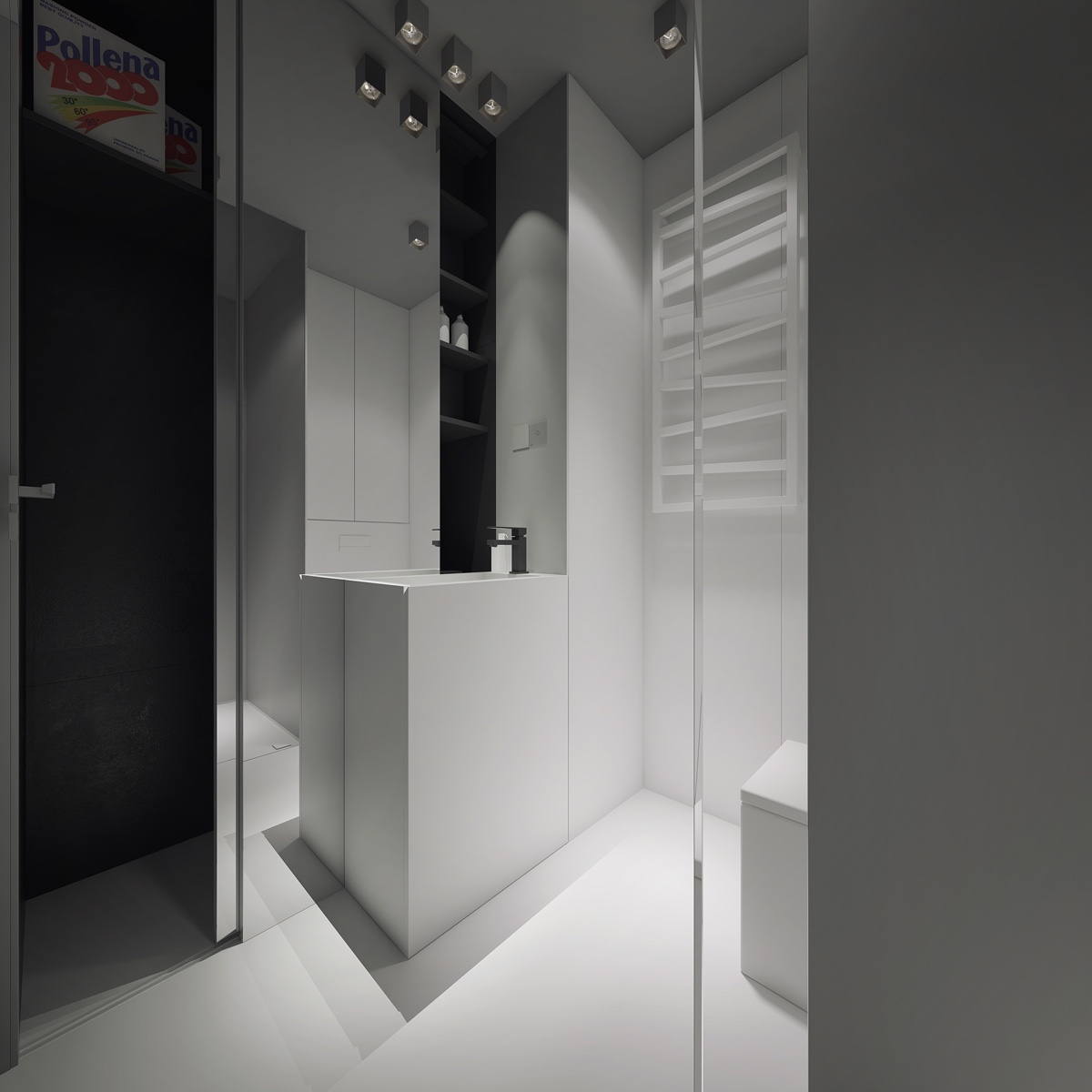 Spacious looking bathroom white and grey tall floor to ceiling mirrors making the most of space