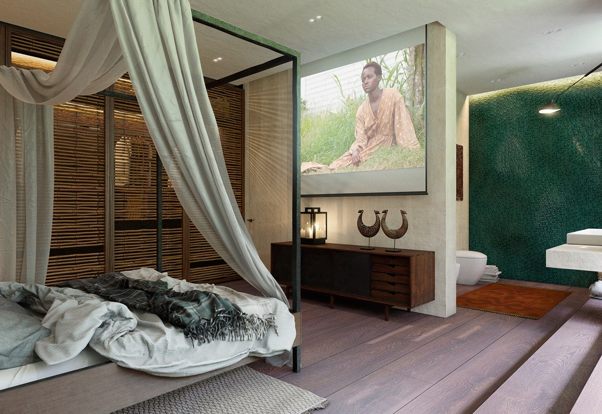 bold bedroom bold bedroom Impove Your Luxirous Sleeptime With Bold Bedroom Spaces Tropical bedroom pull down canvas sheeting movie projector screen jade feature wall light wooden flooring