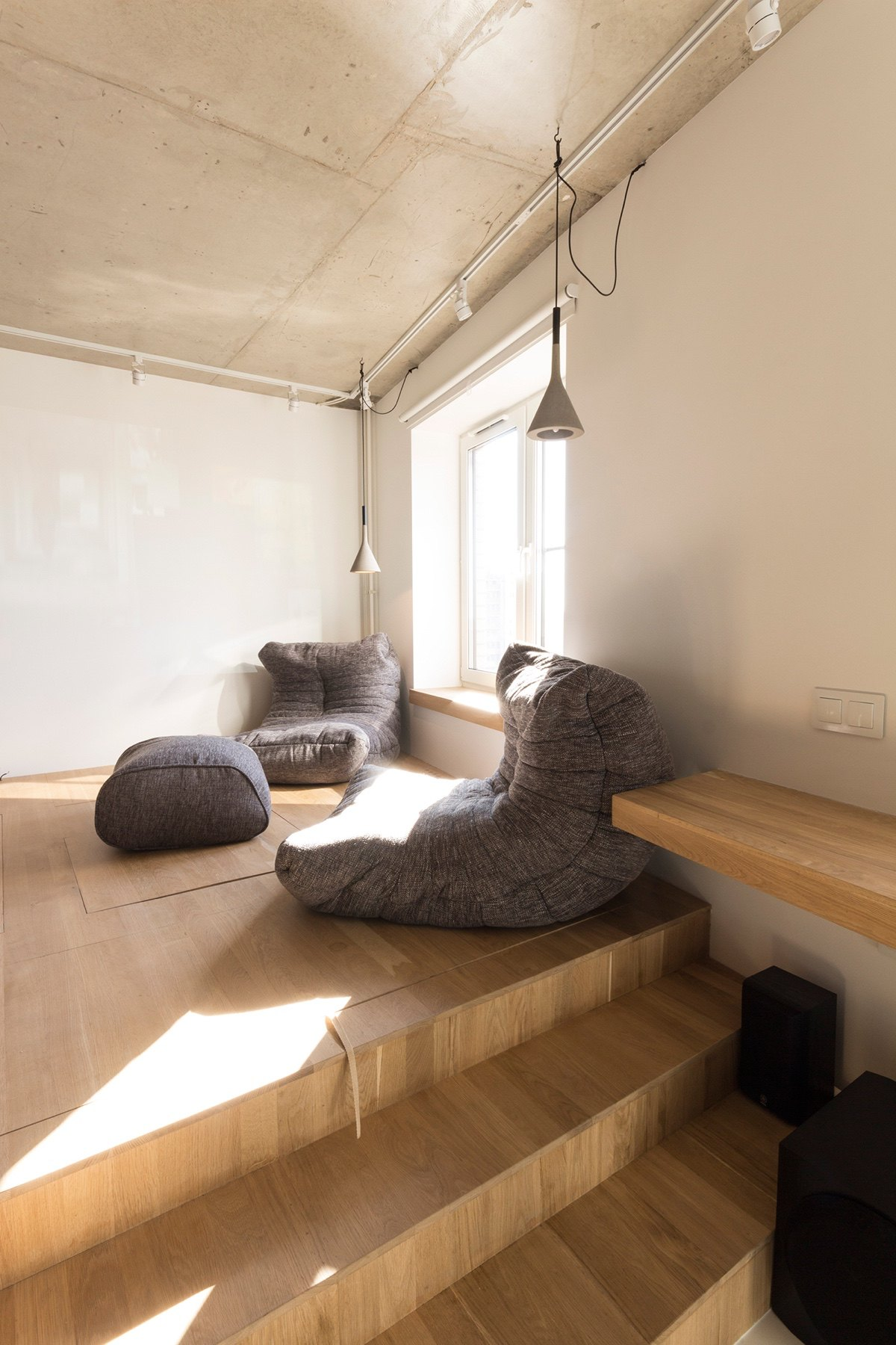 Upper Level Relaxation Space Wooden Grey Hanging Light Simple Square Window - Super small studio apartment under 50 square meters includes floor plan