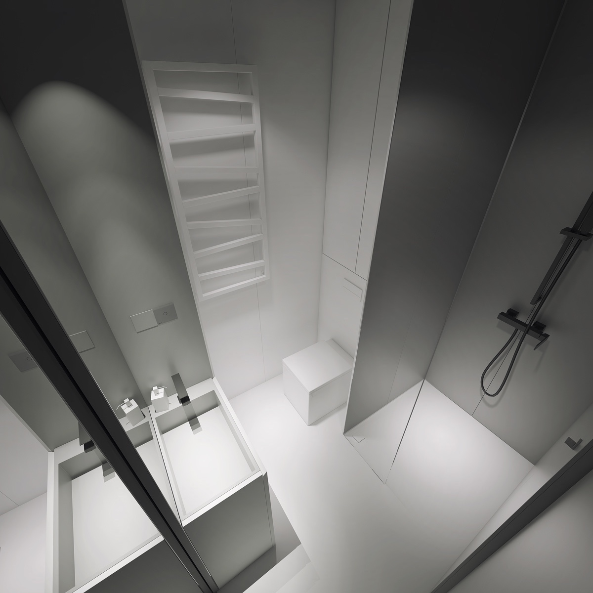 3 light white and minimalist homes inspiring clarity of mind - Bathrooms small spaces minimalist ...
