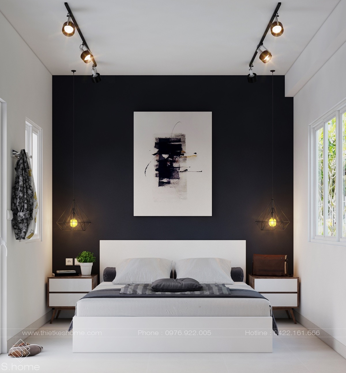 40 beautiful black white bedroom designs for Bedroom wall decor