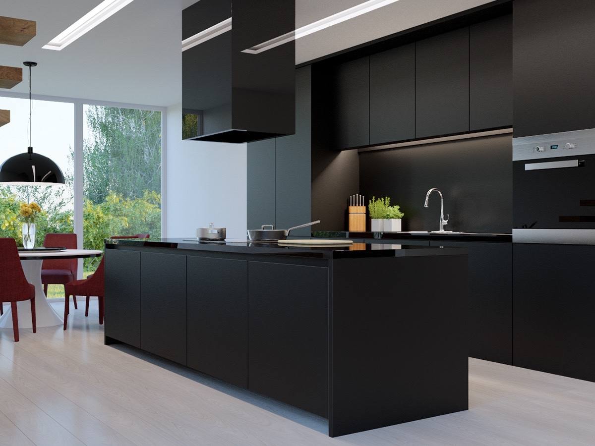All Black Kitchen On All Light Wood Floor Standout Contrast - 36 stunning black kitchens that tempt you to go dark for your next remodel