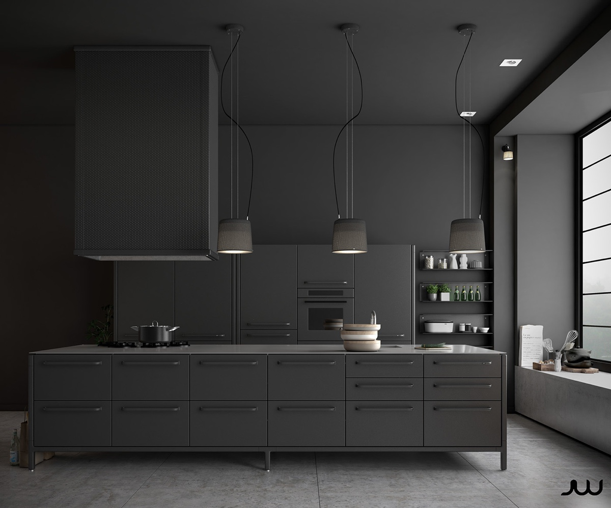 All Grey Kitchen Shades Of Concrete Block Seat - 36 stunning black kitchens that tempt you to go dark for your next remodel