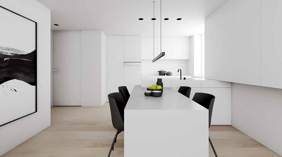 Almost White Kitchen Long Cabinetry Minimalistic - 4 monochrome minimalist spaces creating black and white magic