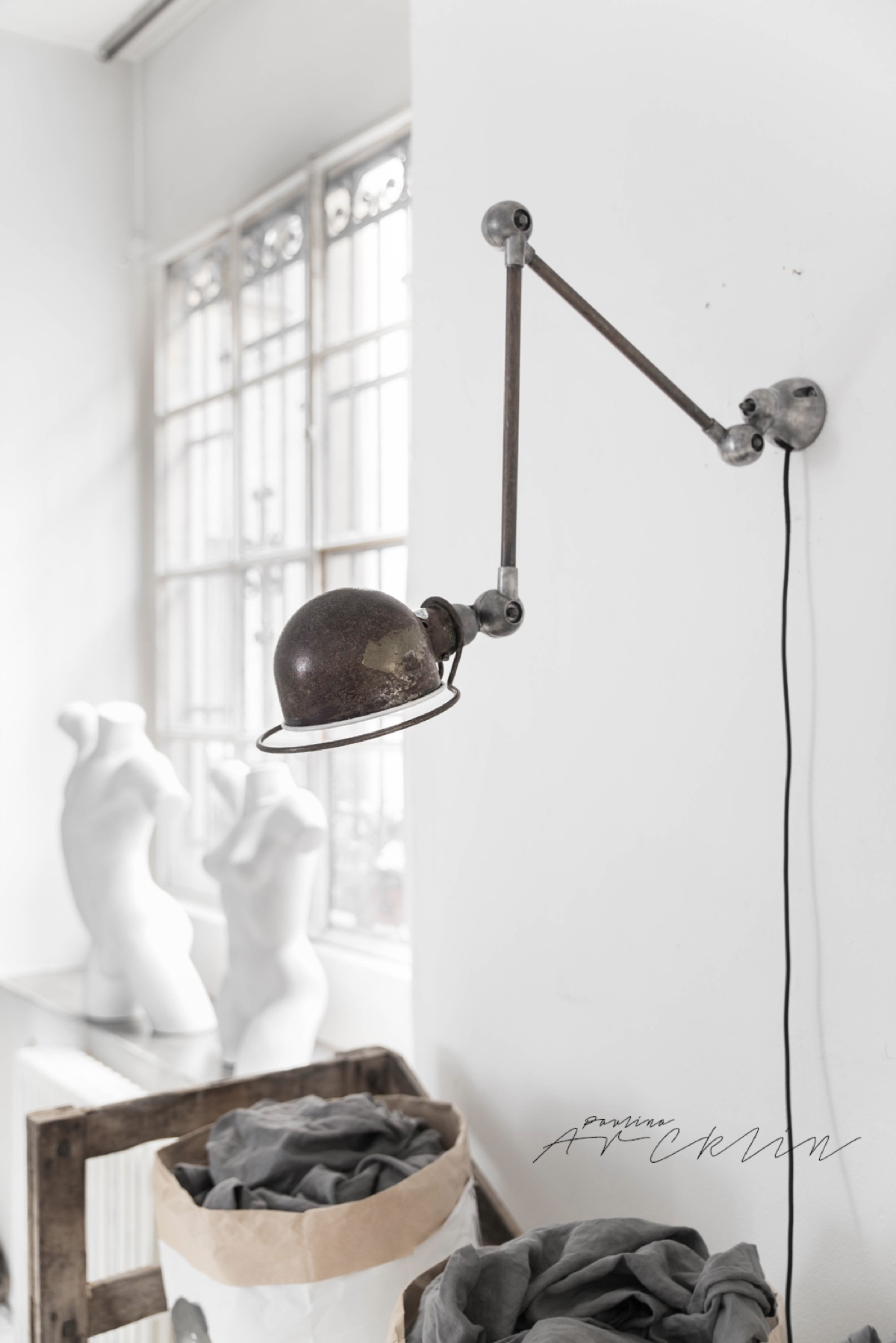 Antique Patina Jielde Lamp - Cottage chic meets industrial decor in this amazing milan apartment