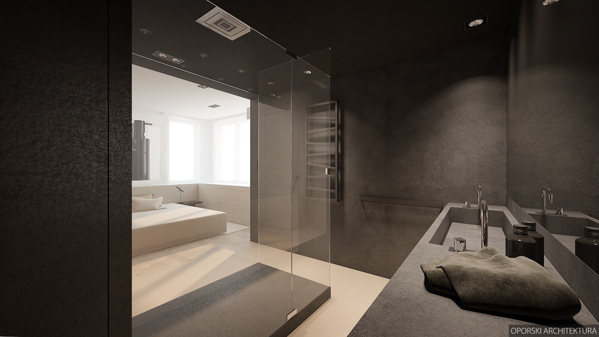 Bedroom With Open Concept Bathroom - 2 super simple homes with light wood panels and matte black accents