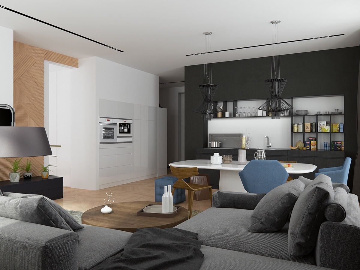 Black And White Open Concept Kitchen - Handsome small apartments with open concept layouts