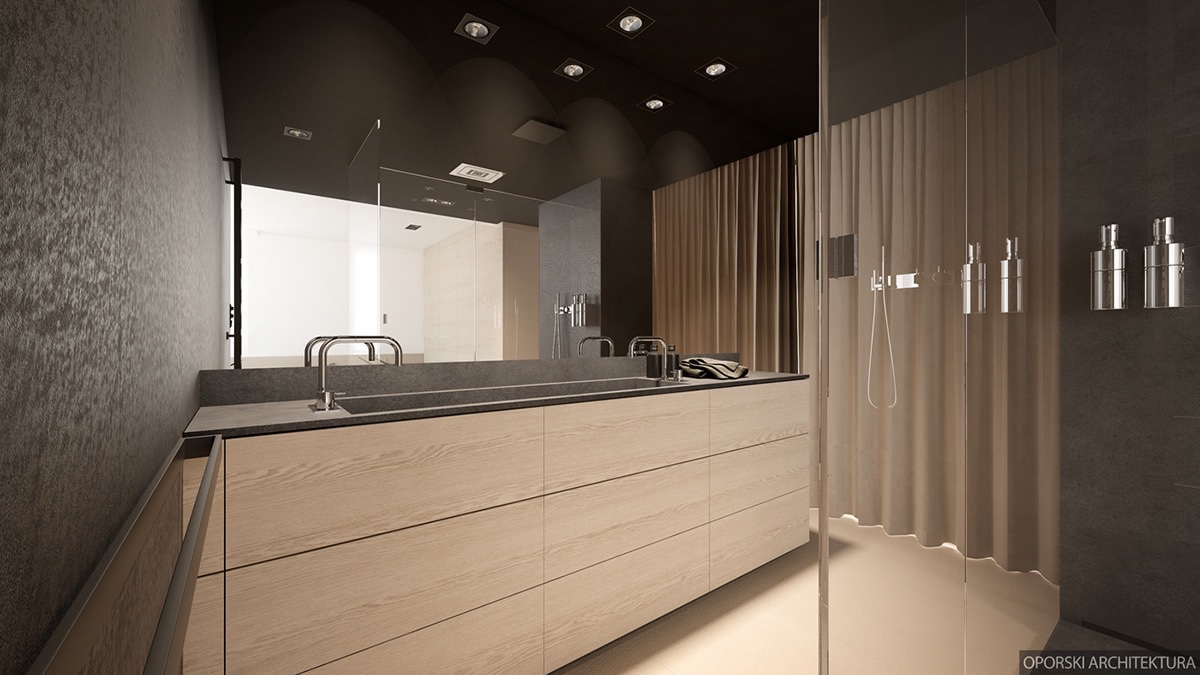 Black And Wood Bathroom Palette - 2 super simple homes with light wood panels and matte black accents