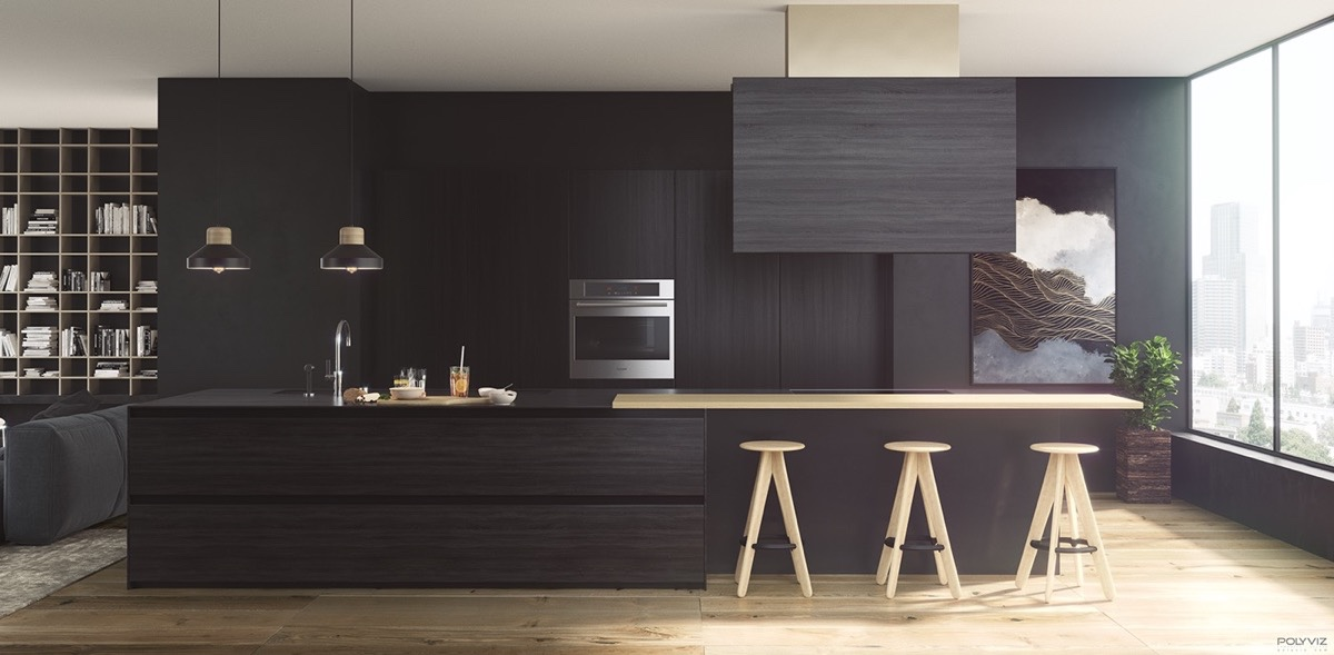 Black And Wood Kitchen Wooden Stools And Bench - 36 stunning black kitchens that tempt you to go dark for your next remodel