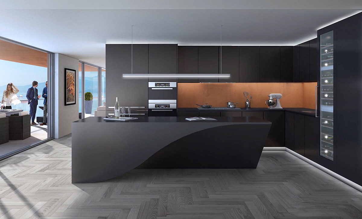 Black Curved Bench Kitchen Amber Inlet Chrome Lighting - 36 stunning black kitchens that tempt you to go dark for your next remodel