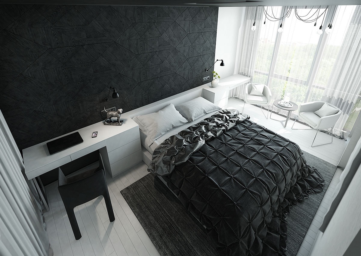 master bedroom master bedroom Black & White Stunning Master Bedroom Designs black feature wall quilted duvet bedroom black and white